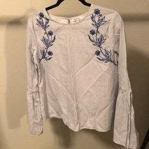 Striped Floral Tunic with Bell Sleeve
